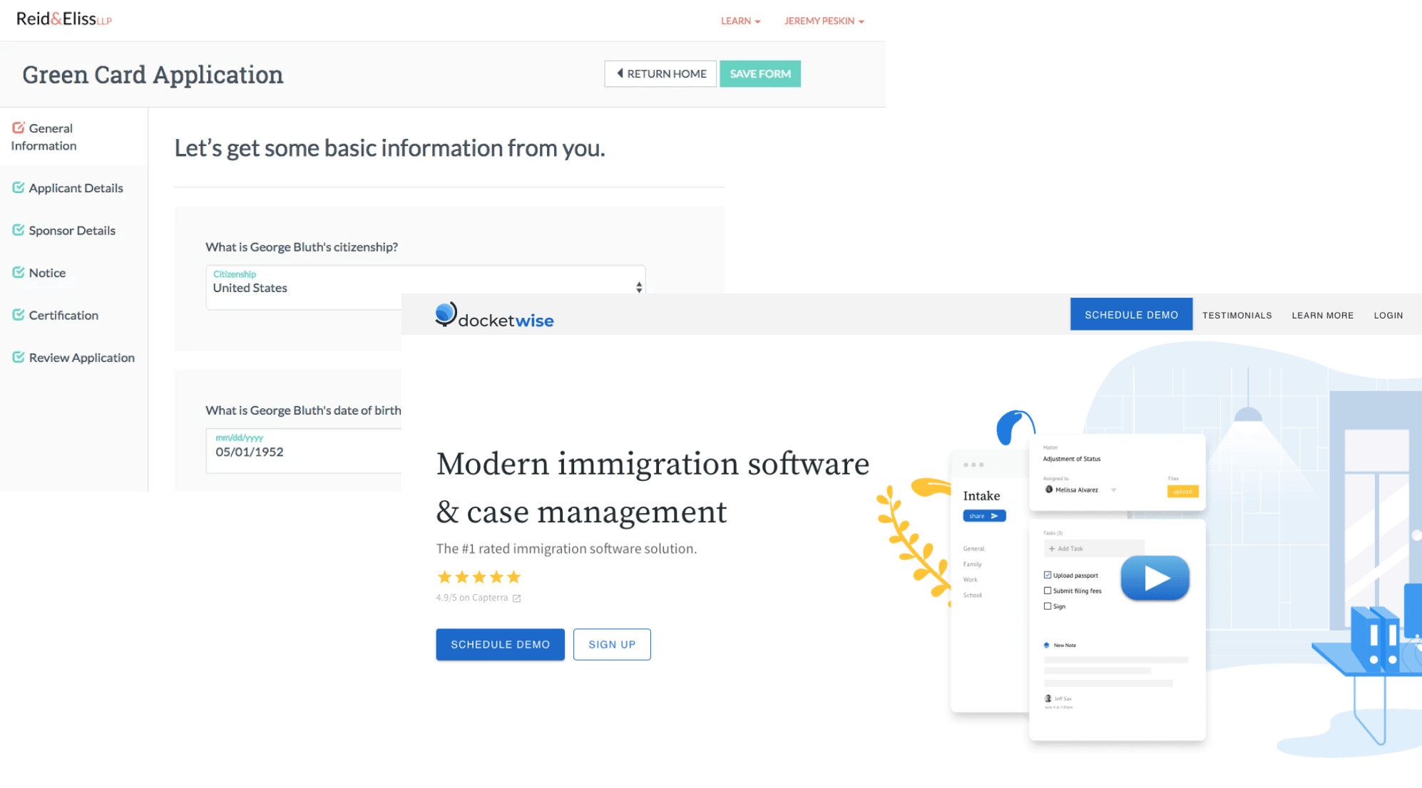 Docketwise web app and the promo website